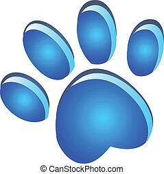 Paw footprint blue