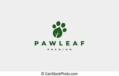paw leaf foot print logo Design Vector