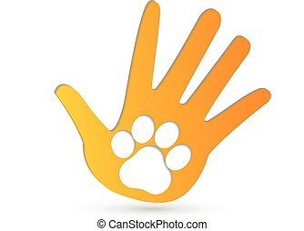Paw on hands logo vector