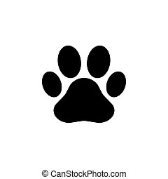 Paw Print icon. Vector black on white background