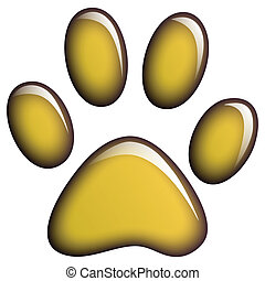 Illustration of golden paws on a white background.