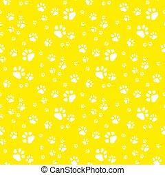Paw print seamless pattern yellow background.