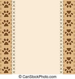 Paw prints animal frame border design