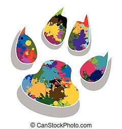 Paw prints colorful