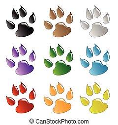 Illustration animals paws print on a white background.