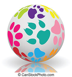 Paw prints on the ball