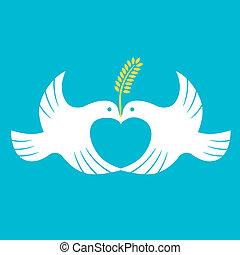 Vector love symbol, peaceful dove.