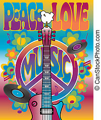 Vector illustration of a guitar, peace symbol and dove dedicated to the Woodstock Music and Art Fair of 1969.