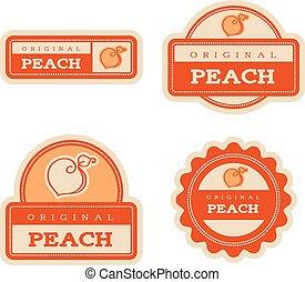 Peach Vintage Food Labels