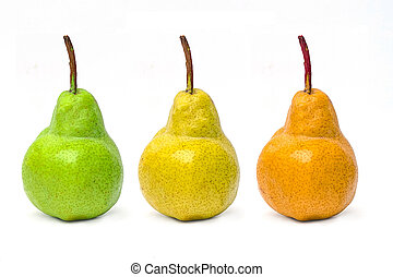 Pear fruits on white background for strong healthy.