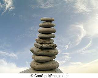 Pebbles stacked over the sky