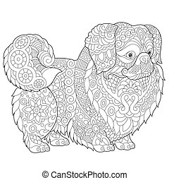 Coloring Page of Pekingese or Japanese Chin Dog for adult coloring book.