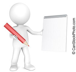 3D little human character holding a Blank Notepad and a Red Pencil. Textured Paper. Copy Space. People series.