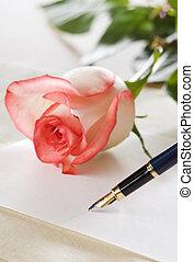 pen on a empty paper close up shoot