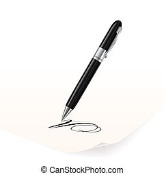 Vector image of black pen writing on paper