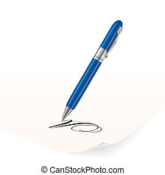 Vector image of blue pen writing on paper