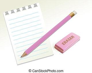 Penci, eraser, notepad on a light background