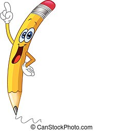 Cartoon pencil pointing with his finger