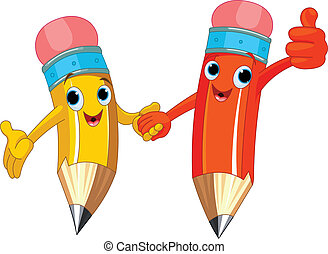 Two cute pencils holding hands