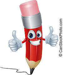 Funny pencil mascot man giving a double thumbs up