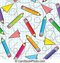 seamless pattern with pencils and paper airplanes