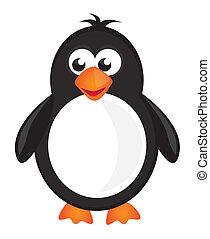 black, white and orange penguin isolate over white background. vector