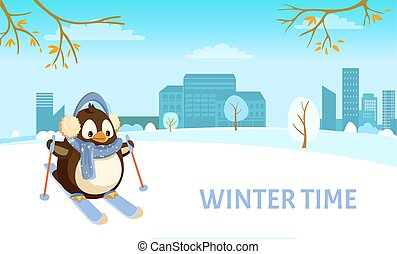 Penguin on Skis in City, Winter Time and Holidays