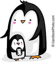 Penguin parent with baby