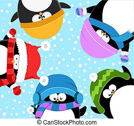 Penguins Celebrating Winter