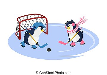 Penguins playing hockey. Isolated characters in cartoon style. Winter sport. Fanny image of arctic bird