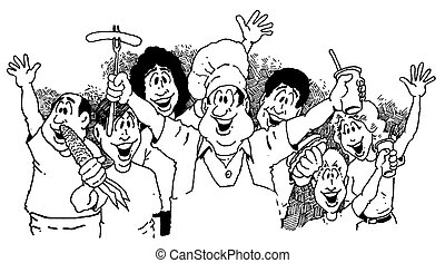 Vector image of group of people advertising a picnic.