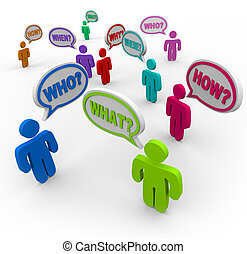 Many people talking at the same time, asking for help with words in speech bubbles - question words like who, what, where, when, why and how