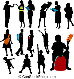 Illustrations set of children and teachers at school in silhouette