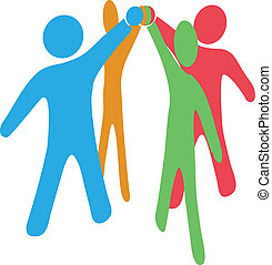 People team up join hands together to collaborate or celebrate