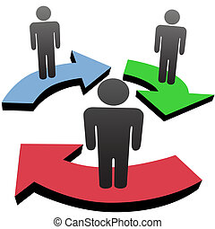 A group of 3 people associate and communicate in business team workflow or social media network arrows.