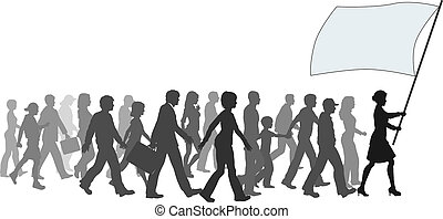 A crowd of people follow a leader carrying sign banner copyspace.
