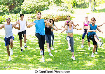 People exercising in the park