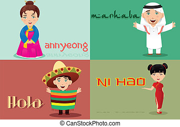 A vector illustration of multi-ethnic people from different cultures saying hello