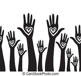 People support hand like heart united seamless background. Vector horizontal pattern illustration .