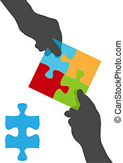 People hands team collaboration puzzle solution