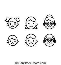 People head face icons