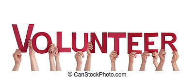 Many People Holding the Words Volunteer, Isolated