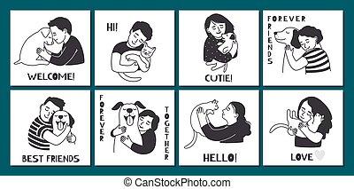 People hugging pets cute cards