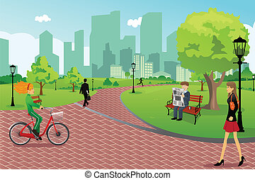 A vector illustration of young modern trendy people in a city park doing activities