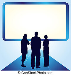 Silhouettes of two woman and one man in front of the screen with place for your text