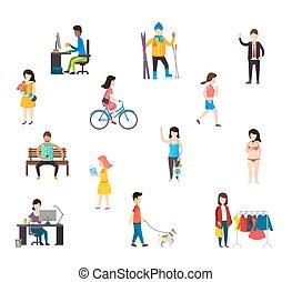 People in various lifestyles.
