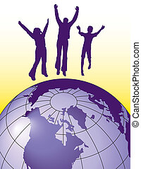 Vector background of people jumping for joy on top of the world