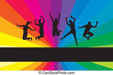 people jumping on a rainbow