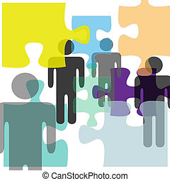 Puzzled people as problem confusion symbols in mental health psychology complexity abstract background.