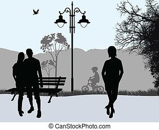 People outdoor in city park background, vector illustration